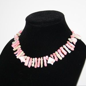 Vintage pink and white shell necklace